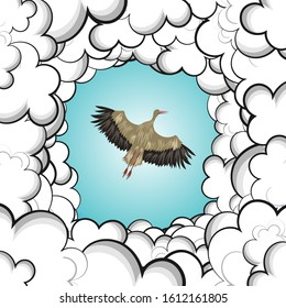A stork flies in the sky. The bird is visible through the gap from the clouds