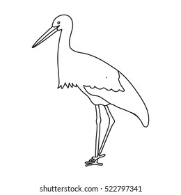 Stork icon in outline style isolated on white background. Bird symbol stock bitmap illustration.