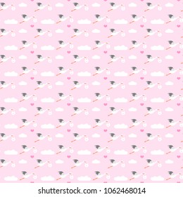 Storks seamless pattern, background illustration, newborn baby background