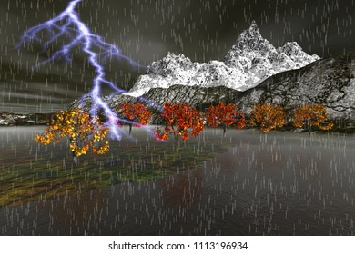 Storm, 3d rendering, a winter landscape, rain and lightning, trees with red and yellow leaves and snowy mountain in the background.