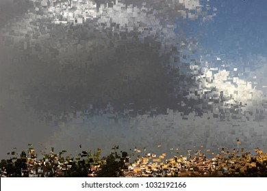 Storm in the afternoon over sunlit village, tribute to Pollock, Abstract expressionism, composition with sparkles and diffusion of colors, graphic,