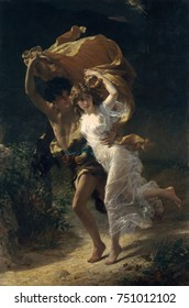 THE STORM, by Pierre-Auguste Cot, 1880, French painting, oil on canvas. A young couple in classical costume run for shelter in a rainstorm, using the womans overskirt as a cover. The diaphanous chemis