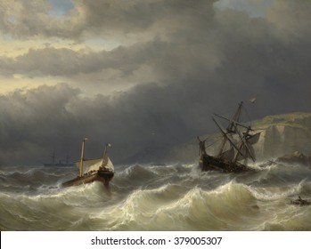 Storm in the Strait of Dover, by Louis Meijer, 1819-66, Dutch painting, oil on panel. Ships at sea near the Dover coast during a storm. One is crashing on the rocks and launching lifeboats. In distanc