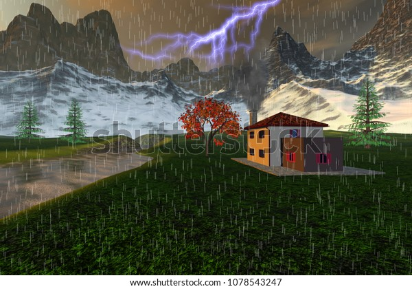 Storm in the valley, 3D rendering, an autumn landscape, a small house next to the river, snowy mountains and grass on the ground with beautiful trees.