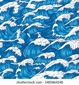 Storm waves seamless pattern. Raging ocean water, sea wave and vintage japanese storms print. Japan style storm drawn, marinene surfing splash wallpaper. illustration background