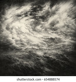 Stormy background with a surreal combination of water and clouds