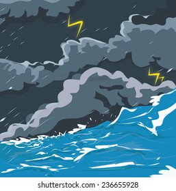 Stormy Ocean and rain, thunder & lightening.
