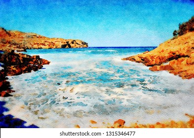 Stormy seas at Cala Carbo beach in Cala San Vicente on the Spanish island of Majorca. Digital image with watercolour effect.