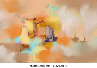 stormy sunny day - abstract digital hand-paint acrylic painting
