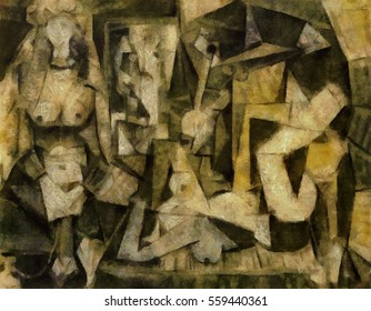 The story of Picasso. Improvisation artist, alternative reproduction of a world famous masterpiece in the style of cubism. Oil on canvas in combination with pastels. Suitable for interior or gift.