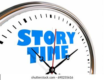 Story Time Storytelling Narrative Clock Hands Ticking 3d Illustration