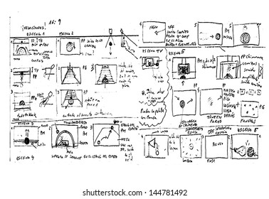 Storyboard Sketch drawing in white background.