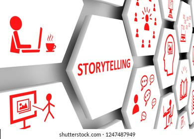 STORYTELLING concept cell background 3d illustration