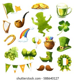 St.Patrick 's Day. Watercolor clip-art