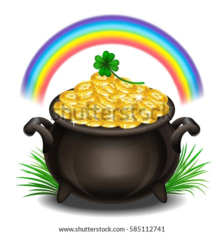 St Patricks Day Background Pot Gold Magical Stock ...
