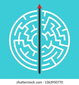 Straight arrow going right through maze. Simple straightforward solution, creativity, strength, obstinacy, decision and courage concept. Flat design
