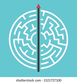Straight arrow going right through maze on turquoise blue. Simple straightforward solution, creativity, strength, obstinacy, decision and courage concept. Flat design. Raster copy