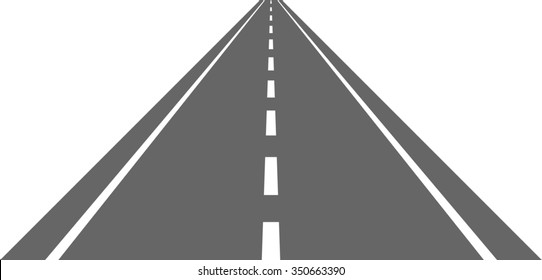 Straight road with white markings isolated on white background