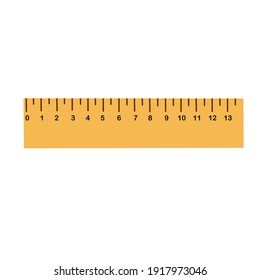 straight ruler in yellow on a white background for training and business