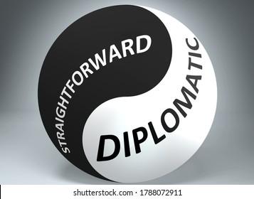 Straightforward and diplomatic in balance - pictured as words Straightforward, diplomatic and yin yang symbol, to show harmony between Straightforward and diplomatic, 3d illustration