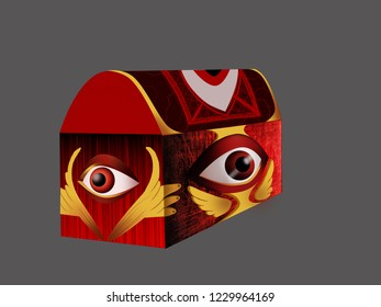 Strange  beautiful closed coffer with eyes painted in red, yellow color on grey background