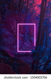 Strange fluorescent light layout with glowing neon frame on vibrant forest background.Copy space for poster, banner, invitation,stranger party. Fairy misterious,mystical Illustraion. Paranormal portal