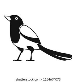 Strange magpie icon. Simple illustration of strange magpie icon for web design isolated on white background