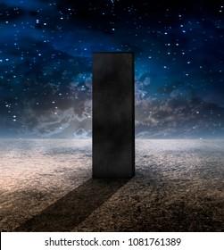Strange Monolith on Lifeless Planet. 3D rendering