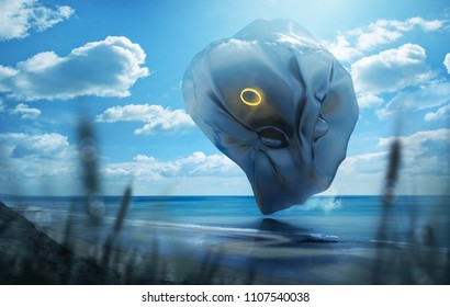 A strange and mysterious futuristic looking object hovering over a scenic beach on a hto summerday. Mixed media illustration.