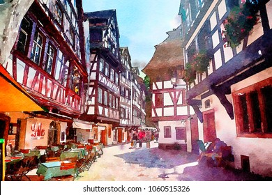 Strasbourg , region Petite-France, watercolor style