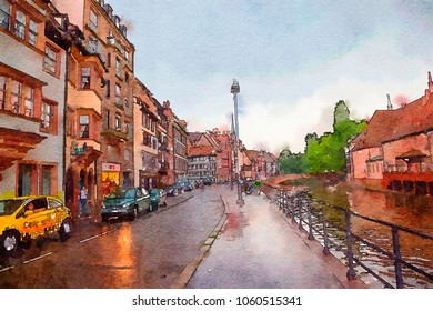Strasbourg , region Petite-France,watercolor style