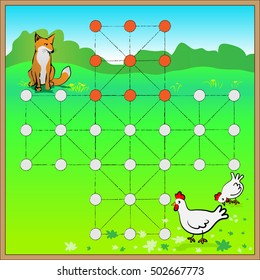 strategic board game with fox and hen
