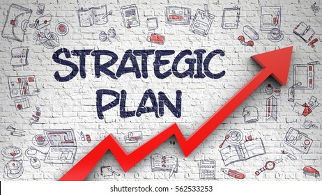 Strategic Plan Inscription on the Modern Illustration. with Red Arrow and Doodle Icons Around. Strategic Plan - Line Style Illustration with Doodle Elements.