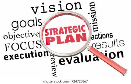 Strategic Plan Magnifying Glass Strategy Goals 3d Illustration