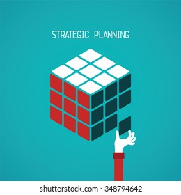 Strategic planning cube bitmap concept in flat style