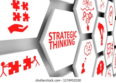 STRATEGIC THINKING concept cell background 3d illustration