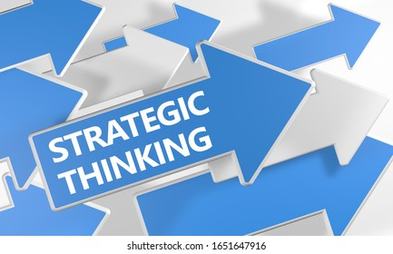 Strategic Thinking text concept with blue and white arrows flying over a white background. 3D render illustration.