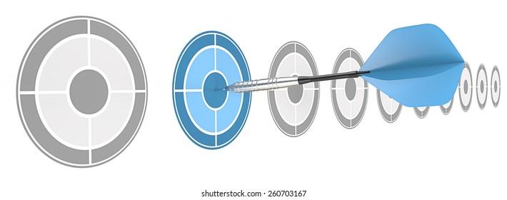 Strategical. Horizontal row of targets. Blue dart hitting target.