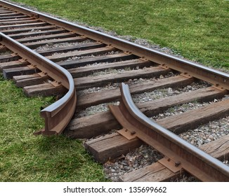 Strategy obstruction challenges as a train track that is broken as a road block business concept finding solutions to obstacles that are dangerous and challenging on a journey to a strategic goal.