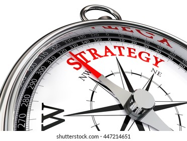 strategy red word on motivation compass, isolated on white background