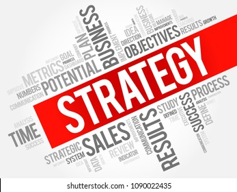 Strategy word cloud collage, business concept background