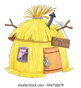 A straw hut. Illustration for children. Coloring book. Coloring page.