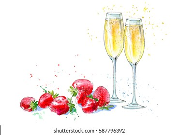 Strawberries and champagne. Picture of a alcoholic drink and berries. Watercolor hand drawn illustration