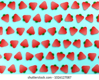 Strawberries on blue color background