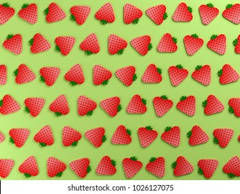 Strawberries on green color background