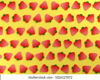 Strawberries on yellow color background
