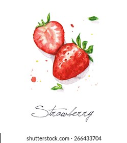 Strawberries - Watercolor Food Collection