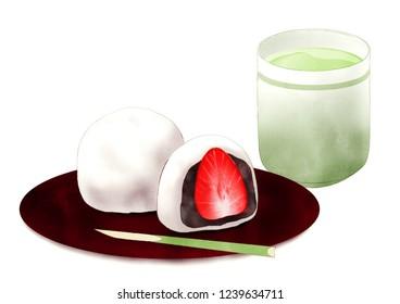 strawberry daifuku illustration
