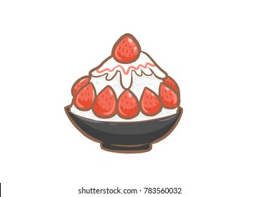 Strawberry bingsu sweet dessert,digital painting clip art.