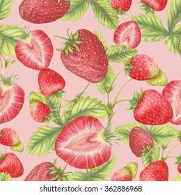 Strawberry botanical pattern